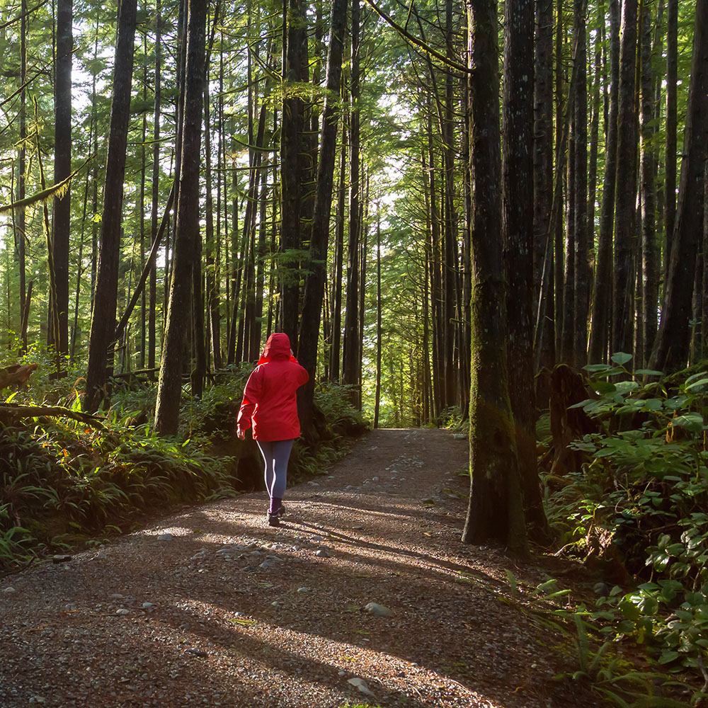Woman in red jacket walking through a forest